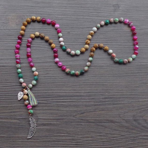 Natural Stone Bead Necklace With Leaf / Owl Tassel Bohemian Yoga