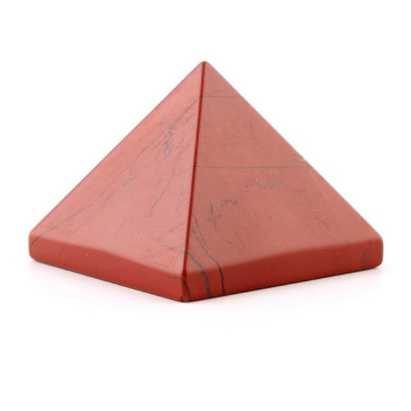 Natural Stone Carved Pyramid Chakra Healing Reiki Crystal Red Jasper