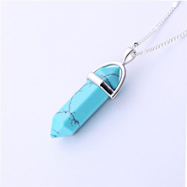 Natural Stone Pendant Bullet Jade Suspension Color Quartz Necklaces & Pendants Fashion Jewelry Choker Necklace Bijoux Chain 2 Pendant