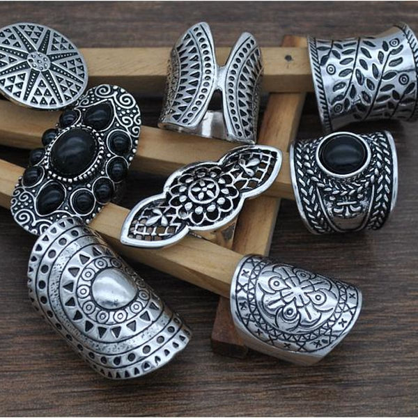 New Bohemian Vintage Boho Rings Set Tibetan Silver Plated 8Pcs Boho Ring