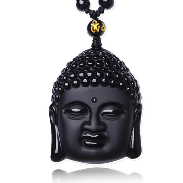 Obsidian Buddha Crystal Sakyamuni Bead Necklace Pendant Necklaces