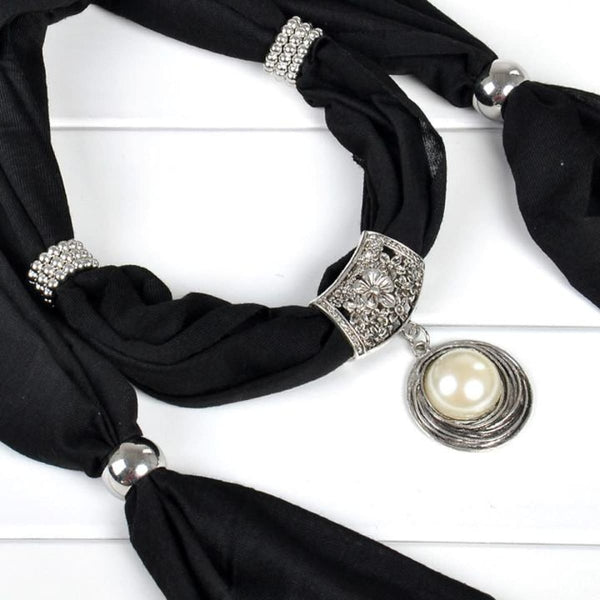 Pearl & Rhinestones Pendant Necklace Scarf Black Scarves