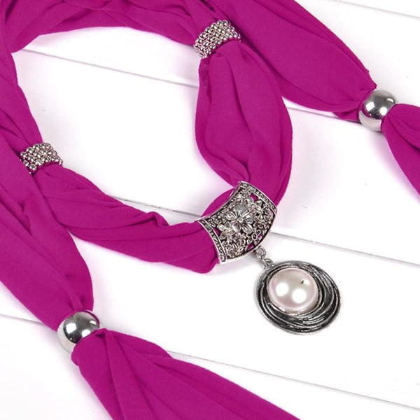 Pearl & Rhinestones Pendant Necklace Scarf Purple Scarves