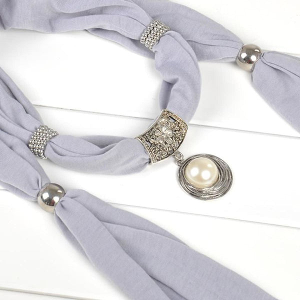 Pearl & Rhinestones Pendant Necklace Scarf Gray Scarves