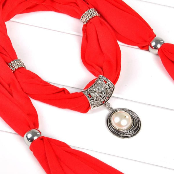 Pearl & Rhinestones Pendant Necklace Scarf Red Scarves