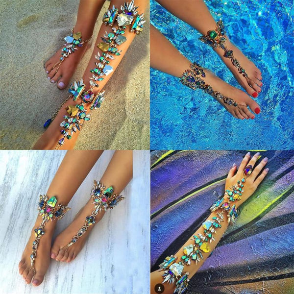Pie Leg Crystal Ankle Bracelet Leg Chain Anklet Foot Jewelry