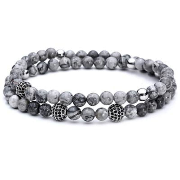 Pure Nature Stone Handmade Double Layer Bracelet Grey