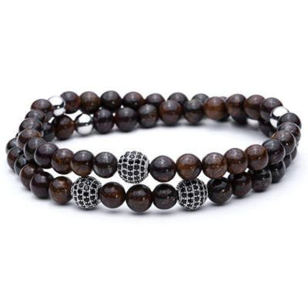 Pure Nature Stone Handmade Double Layer Bracelet Coffee