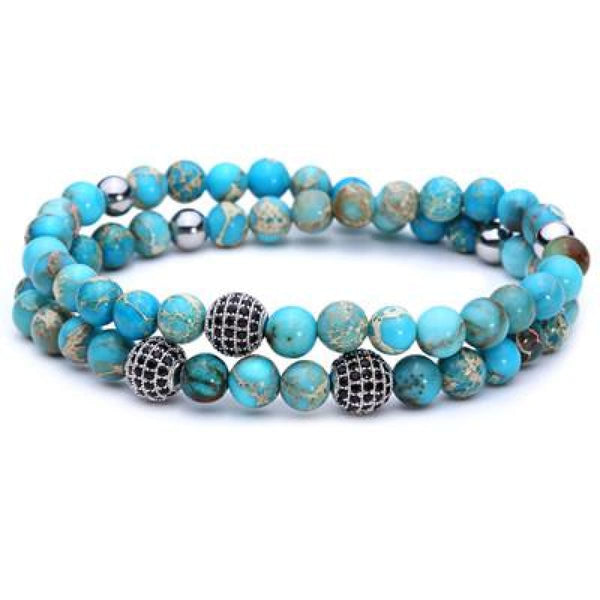 Pure Nature Stone Handmade Double Layer Bracelet Light Blue