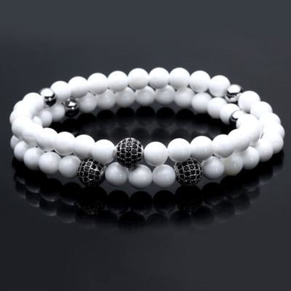 Pure Nature Stone Handmade Double Layer Bracelet White
