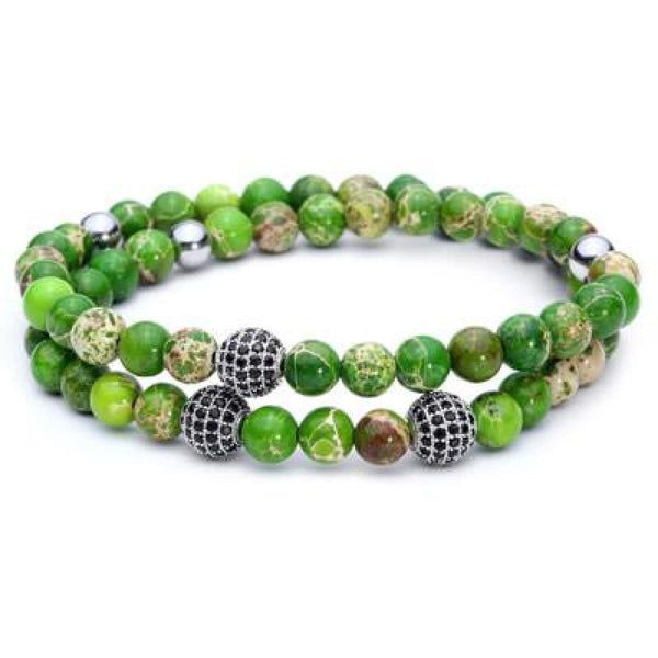 Pure Nature Stone Handmade Double Layer Bracelet Green