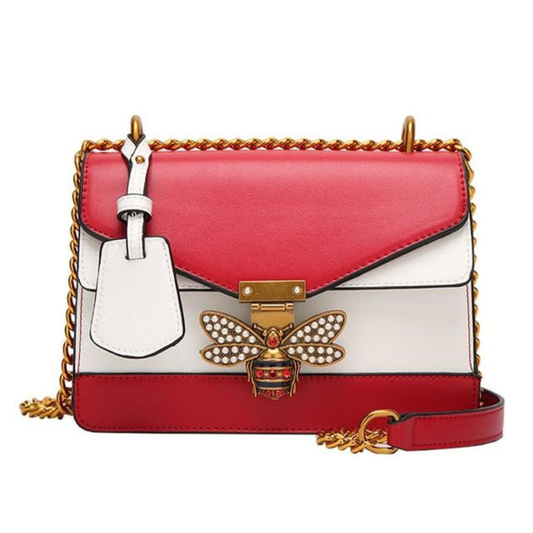 Queen Bee Leather Crossbody Bag Handbag Red / China Leather Crossbody Bag