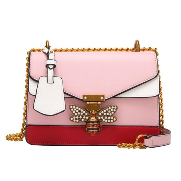 Queen Bee Leather Crossbody Bag Handbag Pink / China Leather Crossbody Bag