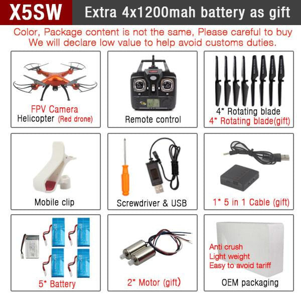 Rc Quadcopter Drone With Wifi Camera Hd 2.4G 6-Axis Rc Helicopters
