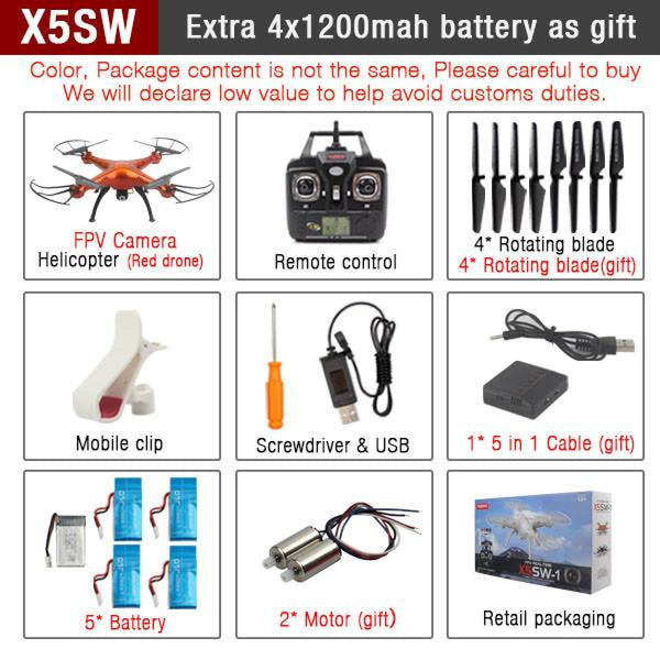 Rc Quadcopter Drone With Wifi Camera Hd 2.4G 6-Axis X5Sw Red Drone Rc Helicopters