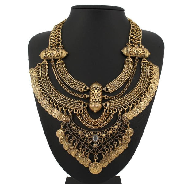 Retro Coin Multi Layer Choker Necklace & Pendants Vintage Bohemian Turkish Jewelry Pendant Necklaces