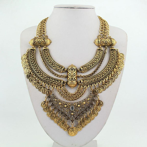 Retro Coin Multi Layer Choker Necklace & Pendants Vintage Bohemian Turkish Jewelry Antique Gold Plated Pendant Necklaces