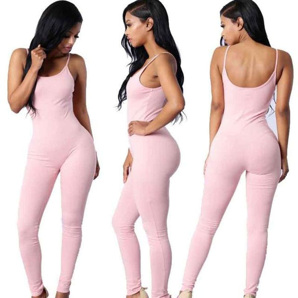 Sexy Strap Sleeveless Backless Catsuit Jumpsuit Pink / L Body Suit
