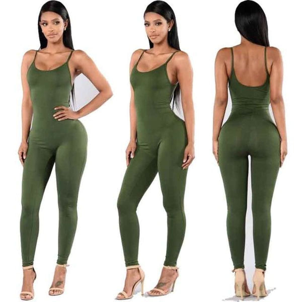 Sexy Strap Sleeveless Backless Catsuit Jumpsuit Army Green / L Body Suit