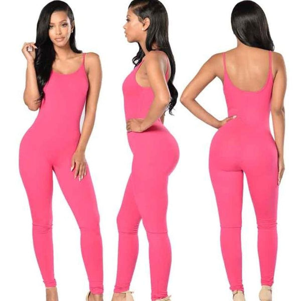 Sexy Strap Sleeveless Backless Catsuit Jumpsuit Rose Red / L Body Suit