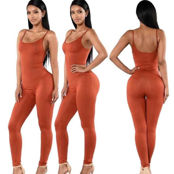 Sexy Strap Sleeveless Backless Catsuit Jumpsuit Orange / L Body Suit