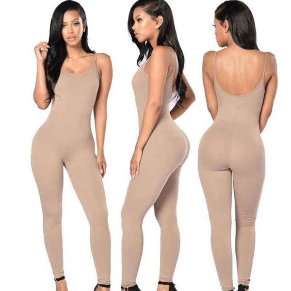 Sexy Strap Sleeveless Backless Catsuit Jumpsuit Khaki / L Body Suit