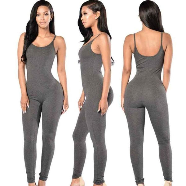 Sexy Strap Sleeveless Backless Catsuit Jumpsuit Dark Grey / L Body Suit