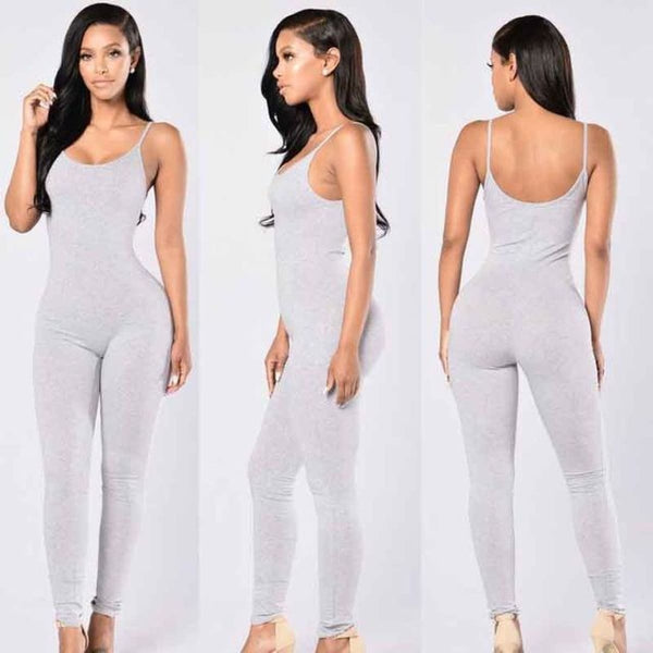 Sexy Strap Sleeveless Backless Catsuit Jumpsuit Light Grey / L Body Suit