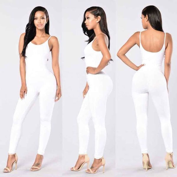 Sexy Strap Sleeveless Backless Catsuit Jumpsuit White / L Body Suit