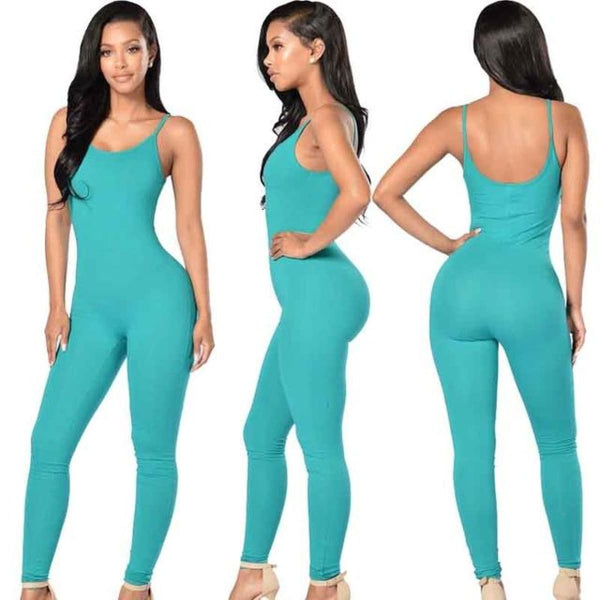 Sexy Strap Sleeveless Backless Catsuit Jumpsuit Blue / L Body Suit