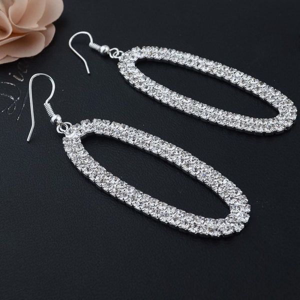 Silver Crystal Drop Earrings With Real Stones Drop Earrings