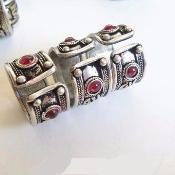 Silver Mantras Ring With Natural Stones Six Words