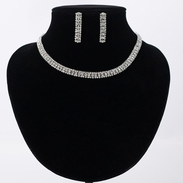 Silver Plated Crystal Rhinestone Necklace Earrings Jewelry Set Jewelry Set