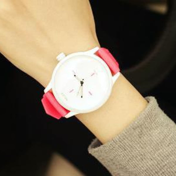 Soft Silicone Strap Jelly Quartz Watch For Women Lovers Black White Wristwatch Hot Pink Womens Watches