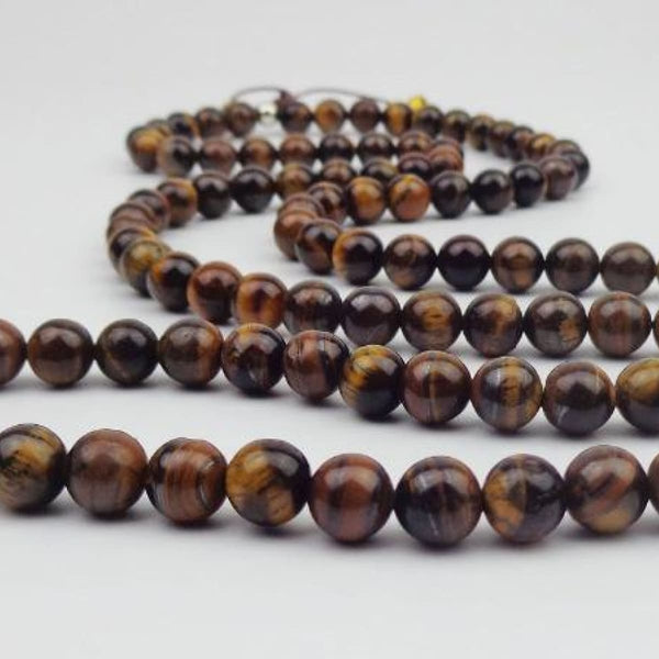 Tiger Eye Natural Stone Mala Necklace