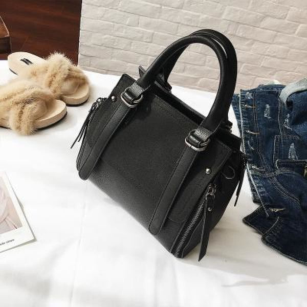 Tinki Panelled Vintage Tote Messenger Bag Black Handbag