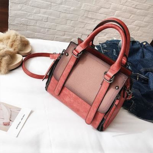 Tinki Panelled Vintage Tote Messenger Bag Red Handbag