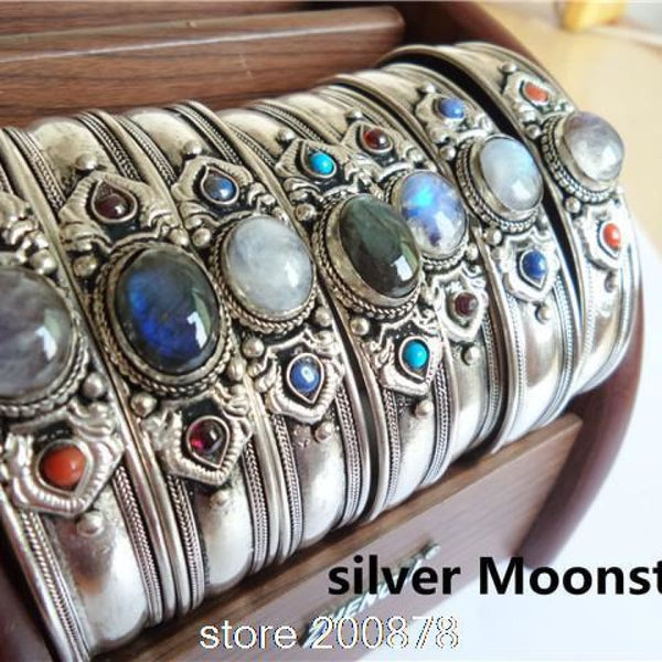Traditional Tibetan Silver Inlaid Natural Stone Bead Bangle Nepal Vintage Handmade Open Cuff Lapis Amethyst Moonstone