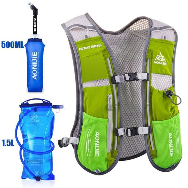 Tripack Hydration Pack Marathon Racing Vest Hiking Cycling Trail Running Backpack Grass Green Running Vest Backpack