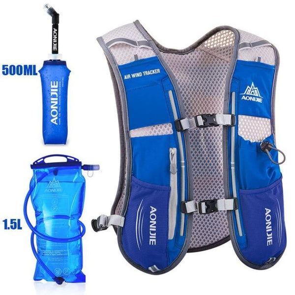Tripack Hydration Pack Marathon Racing Vest Hiking Cycling Trail Running Backpack Blue Running Vest Backpack