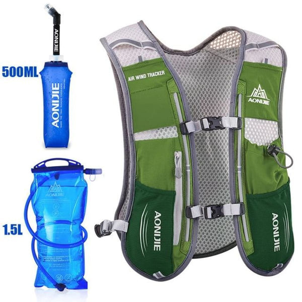 Tripack Hydration Pack Marathon Racing Vest Hiking Cycling Trail Running Backpack Army Green Running Vest Backpack