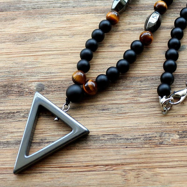 True Energy Tiger Eye Stone And Hematite Triangle Pendant Necklace
