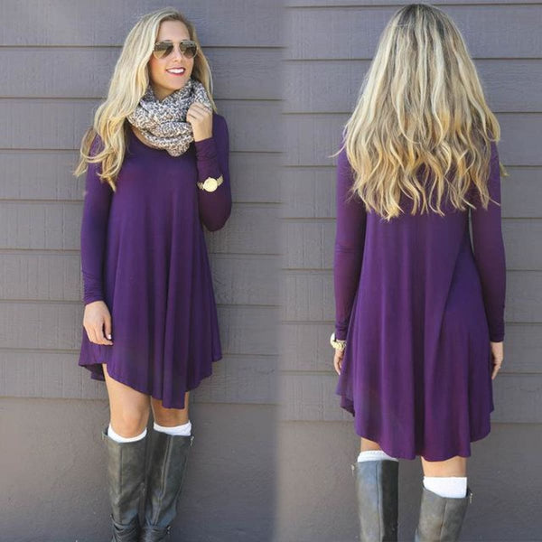 Vestidos Cotton Long Sleeve Shirt Dress Purple / S Dress