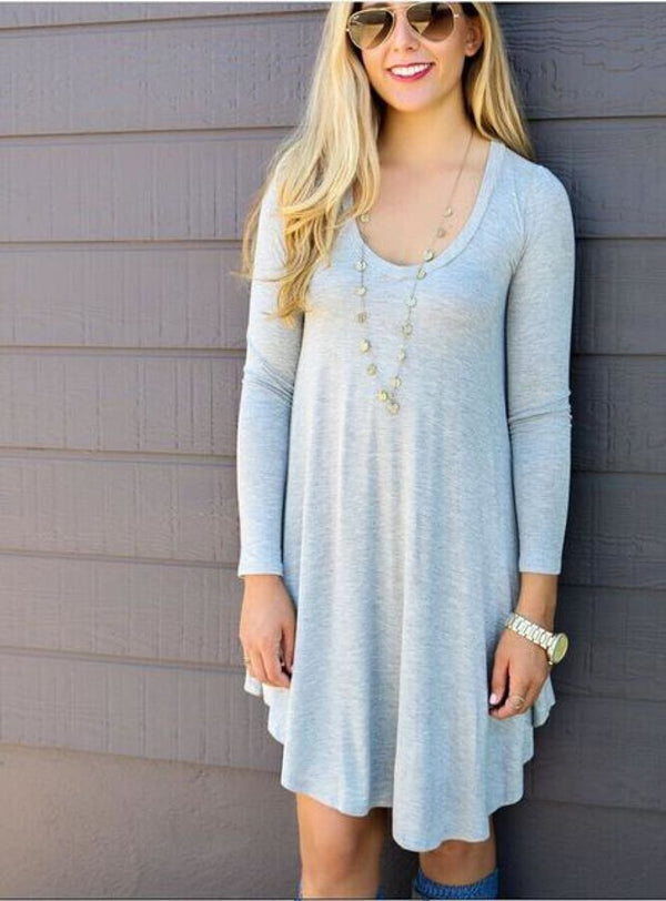 Vestidos Cotton Long Sleeve Shirt Dress Gray / S Dress