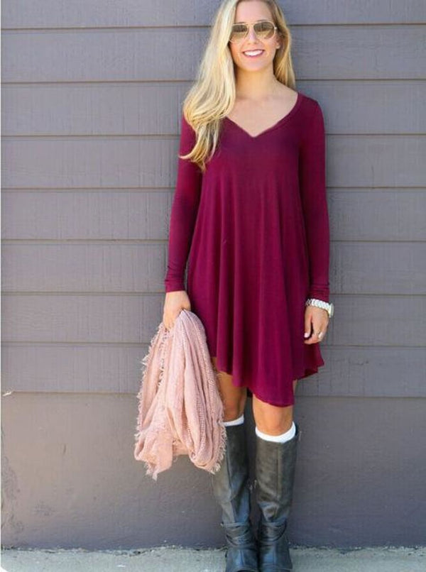 Vestidos Cotton Long Sleeve Shirt Dress Red / S Dress