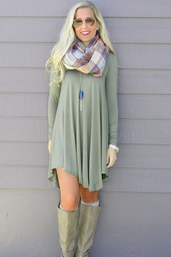 Vestidos Cotton Long Sleeve Shirt Dress Green / S Dress