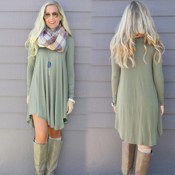 Vestidos Cotton Long Sleeve Shirt Dress Dress