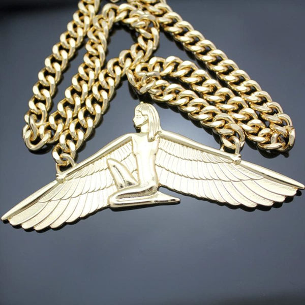 Vintage Egyptian Goddess Isis Choker Chain Necklace Pendant Necklace