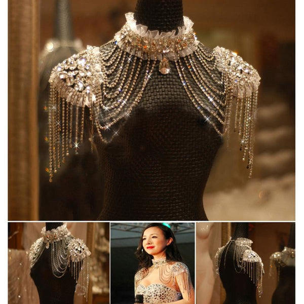 Vintage Rhinestone Lace Shoulder Necklace Body Chain Body Chain