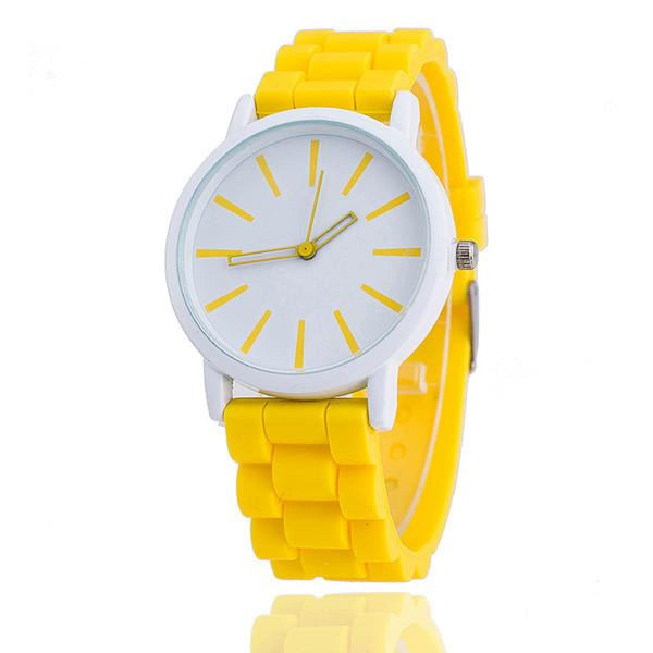 Womens Silicone Fashion Watch Hot Casual Quartz Watch - Relogio Feminino Montre Femme - Sale Yellow Womens Watches